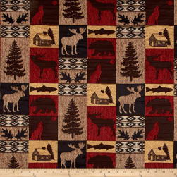 Fairbanks Cabin Patch Chenille Jacquard Red Fabric