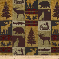 Fairbanks Cabin Patch Chenille Jacquard Evergreen Fabric