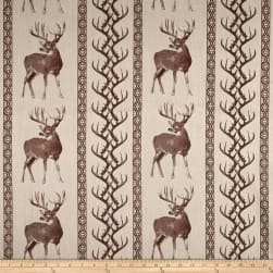 Tiverton Jacquard Deer/Antler Stripe Chocolate Fabric