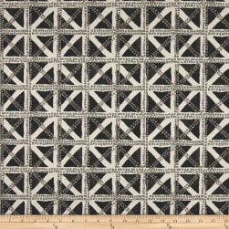 Waverly Squared Away Charcoal Fabric