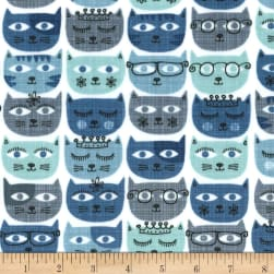 Michael Miller Minky Sassy Cats Blue Fabric
