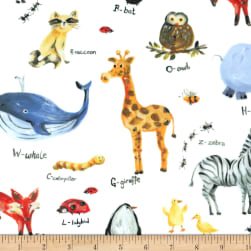 Michael Miller Minky Animal Alphabet White Fabric