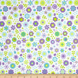Riley Blake Under The Sea Flowers Purple Fabric