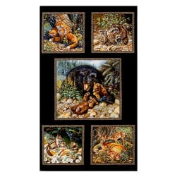 Woodland Families 23.5'' Panel Black Fabric