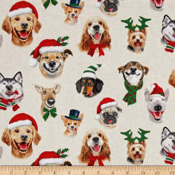 Christmas Selfies Dogs Cream Fabric