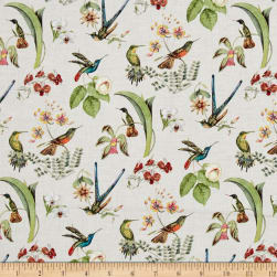 Hummingbirds in Style Metallic Cream Fabric