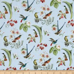 Hummingbirds in Style Metallic Blue Fabric