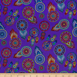 Tucson Beaded Dream Catchers Purple Fabric