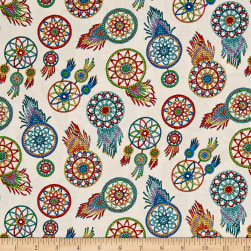 Tucson Beaded Dream Catchers Cream Fabric