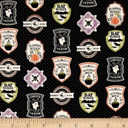 Riley Blake EEK BOO Shriek Badge Black Fabric