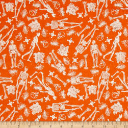 Riley Blake EEK Boo Skeleton Orange Fabric