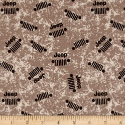 Riley Blake Jeep Logo Brown Fabric