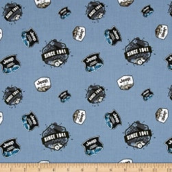Riley Blake Jeep Badges Blue Fabric