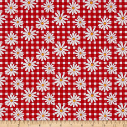 Penny Rose Gingham Girls Daisy Red Fabric