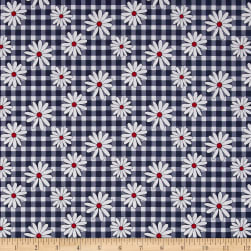 Penny Rose Gingham Girls Daisy Navy Fabric