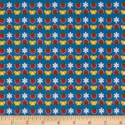 Penny Rose Gingham Girls Butterfly Navy Fabric