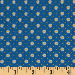 Penny Rose Gingham Girls Flower Blue Fabric