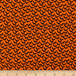 Penny Rose Trick or Treat Bats Orange Fabric