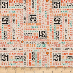 Penny Rose Trick or Treat Words Cream Fabric