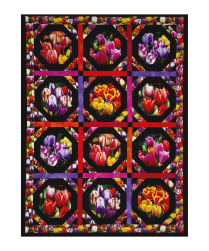 Tulips Digital Print Garden 35'' Panel Black Fabric