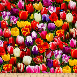 Tulips Digital Print Garden Multi Fabric