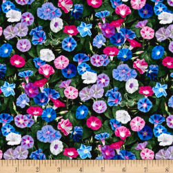 Landscape Medley Morning Glories Green Fabric