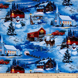 Country Christmas Scenic Blue Fabric