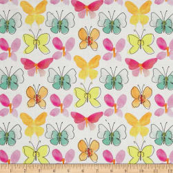 Happy Meadows Butterflies White Fabric