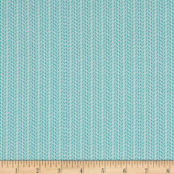 Happy Meadows Herringbone Stripe Aqua Fabric