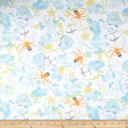 Itty Bitty's Tossed Sea Life White Fabric