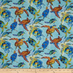 Under the Sea Digitally Printed Turtles Light Blue