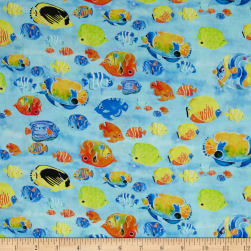 Under the Sea Digitally Printed Fish Blue Fabric