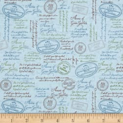 Anne of Green Gables Quotes Blue Fabric