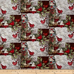 Susan Winget Christmas Window Cardinals Multi Fabric