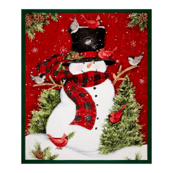 "Bundle Up Snowman 36"" Panel Red"