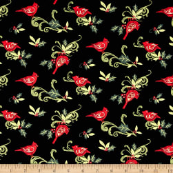 Santa Swirl Cardinal Holly Black Fabric