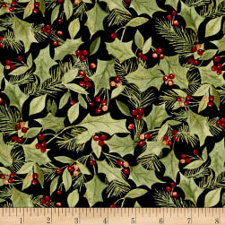 Woodland Deer Christmas Holly Black Fabric