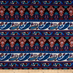 Rayon Challis Paisley Denim Blue/Brown/Pink Fabric