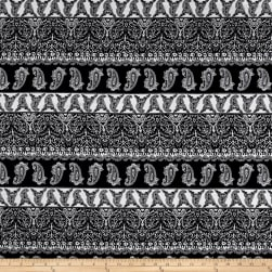 Rayon Challis Paisley Black/White Fabric