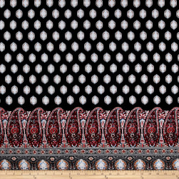 Rayon Challis Large Paisley Red/Black/Taupe Fabric