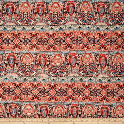 Rayon Challis Paisley Orange/Cobalt/Tan Fabric