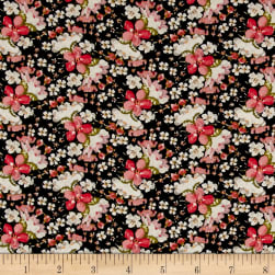 Rayon Challis Daisies White/Black/Coral Fabric