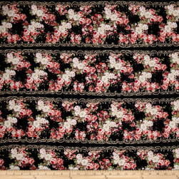 Rayon Challis Floral Black/Magenta/Dust Pink Fabric