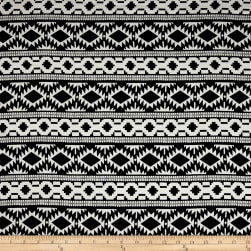 Rayon Challis Tribal Black/White Fabric