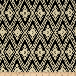 Rayon Challis Aztec Ikat Black/Cream Fabric