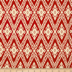 Rayon Challis Tribal Ikat Rust/Cream Fabric