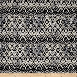 Rayon Challis Abstract Ikat Black/ White/Ivory Fabric