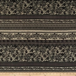 ITY Brushed Jersey Knit Bohemian Multi Floral  Black/Cream/Gray
