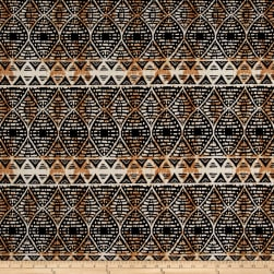 ITY Brushed Stretch Jersey Knit Aztec Black/Taupe Fabric