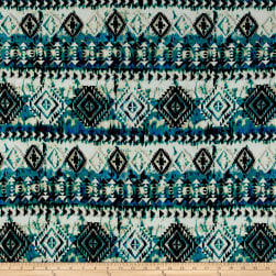 ITY Brushed Jersey Knit Aztec Black/ Blue/Jade Fabric
